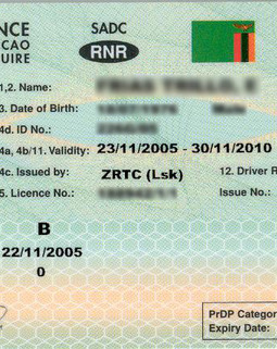 Thumb driving license front zambia copy
